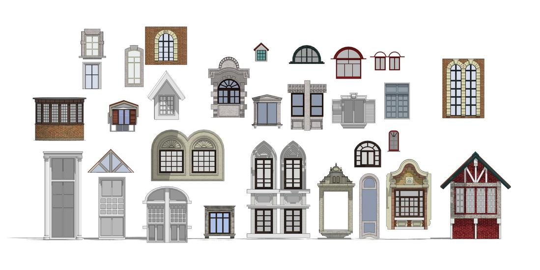 建筑窗户组合SU模型【ID:336406918】
