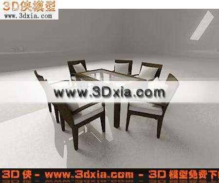 3D模型-精致的桌椅组合【ID:7379】
