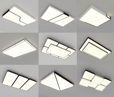 現代吸頂燈3D模型【ID:628053033】