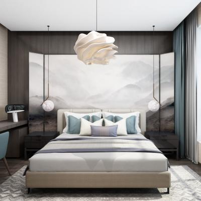 新中式卧室双人床3D模型