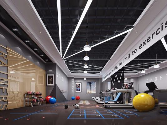 现代健身房私教室3D模型【ID:927991667】