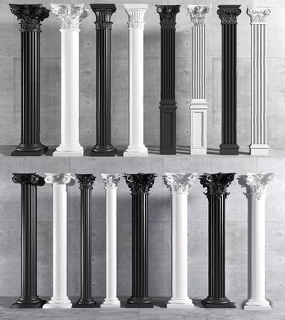 歐式石膏羅馬柱組合3D模型【ID:628295928】
