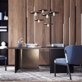 现代餐桌椅组合3D模型【ID:328439414】