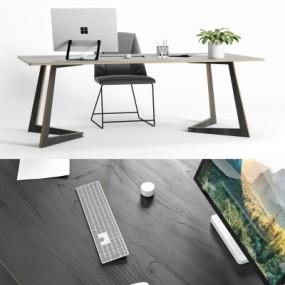 现代简约办公桌椅摆件组合3D模型【ID:627805652】