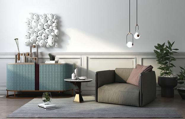 现代沙发椅3D模型【ID:920606636】