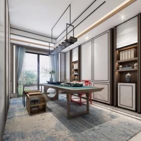 新中式茶室3D模型【ID:327791467】