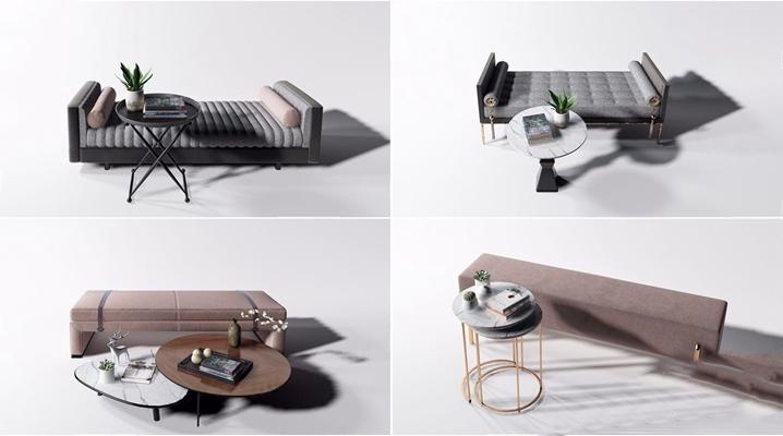 現代床尾凳沙發凳茶幾組合3D模型【ID:427991624】