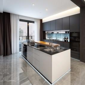现代厨房橱柜3D模型【ID:127765457】