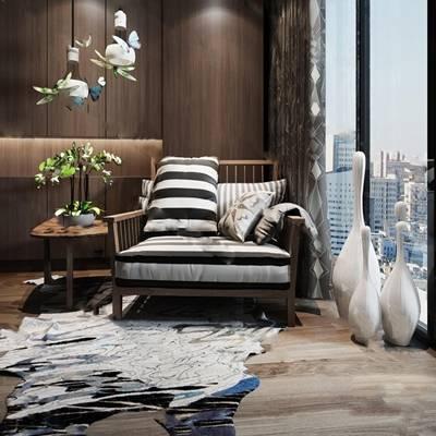 中式休闲椅3D模型下载【ID:219459498】
