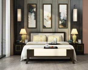 中式布艺双人床床头柜壁灯组合3D模型