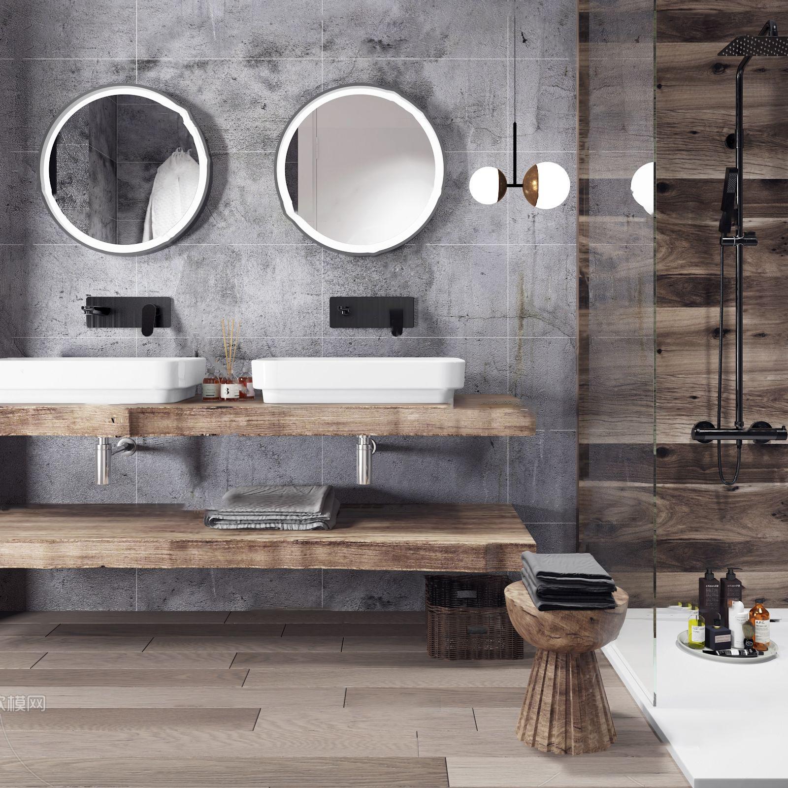 北欧原木浴室柜洗手台3D模型【ID:145289858】