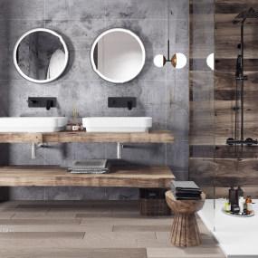 北欧原木浴室柜洗手台3d模型【ID:142180887】