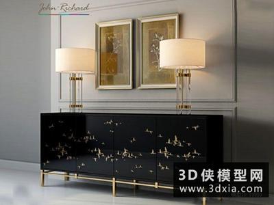 中式装饰柜台灯组合国外3D模型【ID:829524965】