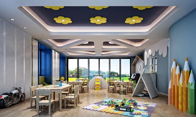 现代幼儿园教室3D模型【ID:727875059】