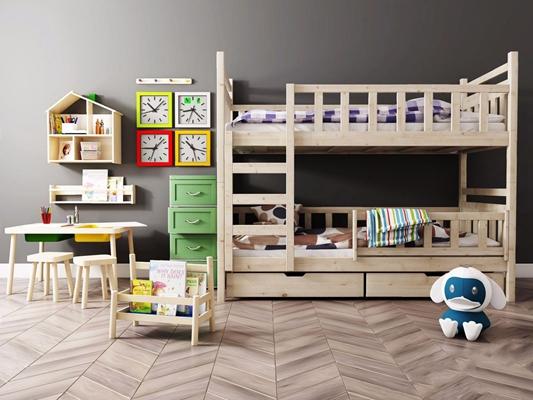 現代兒童高低床兒童床椅組合3D模型【ID:728050252】