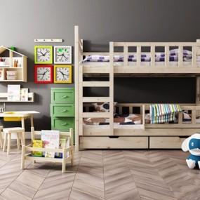现代儿童高低床儿童床椅组合3D模型【ID:728050252】