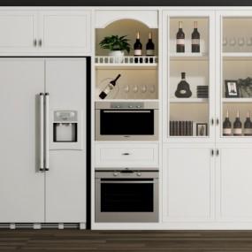 现代酒柜冰箱烤箱摆件组合3D模型【ID:927834034】