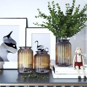 北欧玻璃花瓶组合3D模型【ID:236239543】