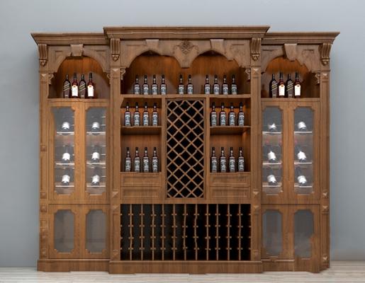 中式酒柜3D模型【ID:926225071】