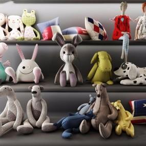 现代毛绒玩具组合3D模型【ID:528041299】