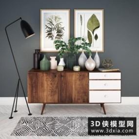 现代装饰柜子装饰品组合国外3D模型【ID:829317025】