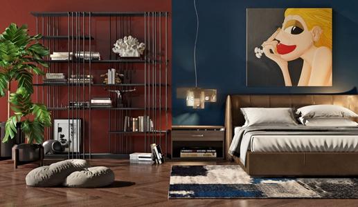 現代雙人床裝飾架組合3D模型【ID:841355734】