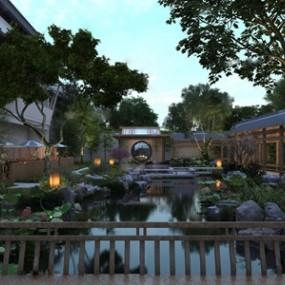 新中式庭院景觀3D模型【ID:131395801】