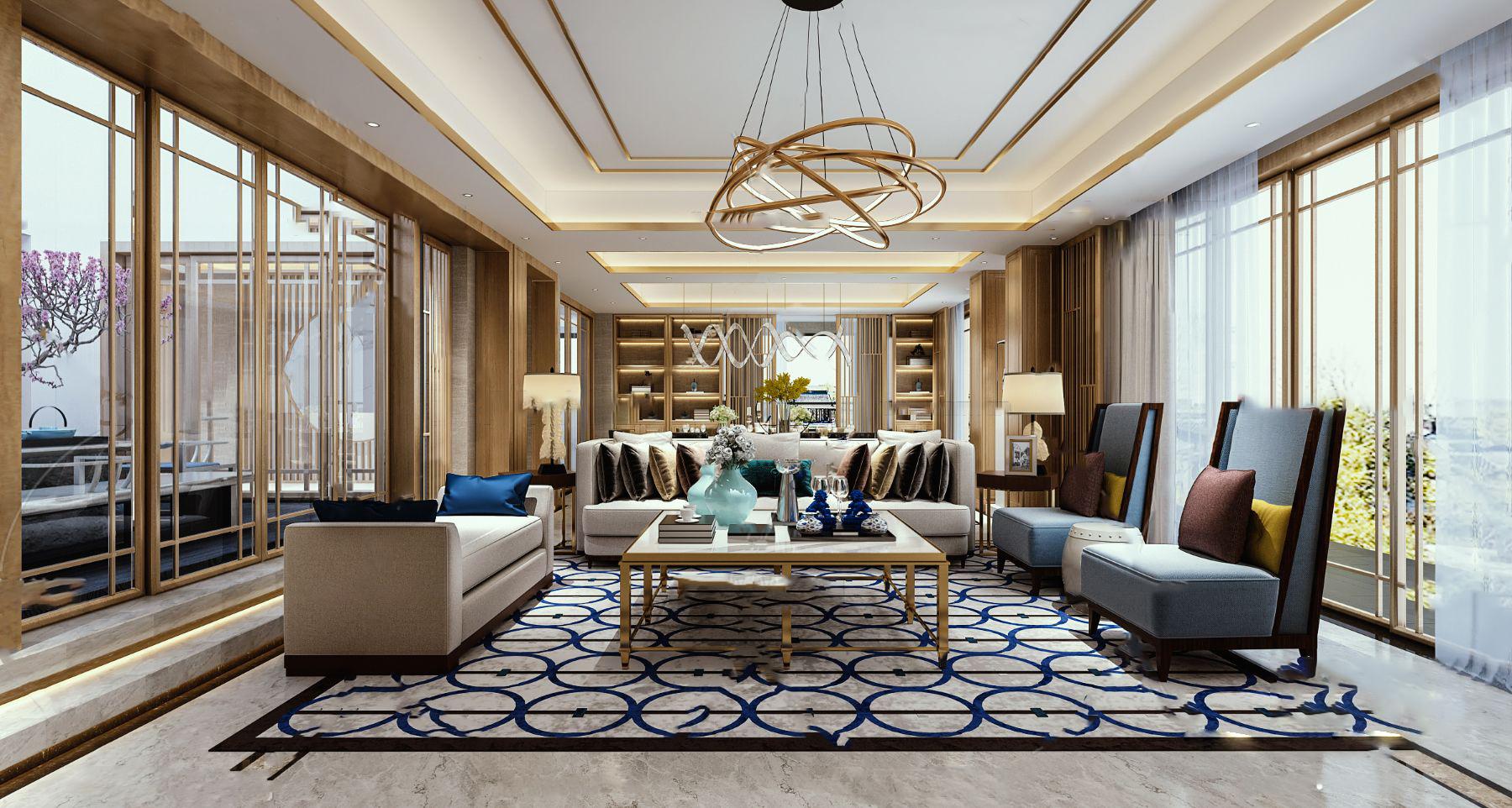 新中式客厅餐厅茶室过道3D模型【ID:543756078】