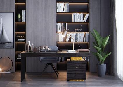 現代書桌椅書柜組合3D模型【ID:934736017】