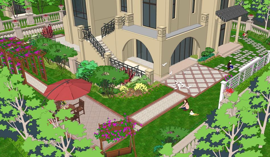 歐式別墅庭院景觀SU模型【ID:536413905】
