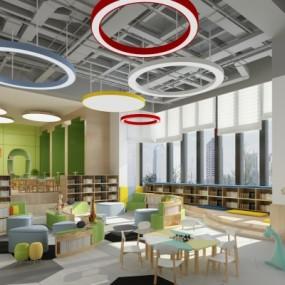 现代幼儿园阅览区3D模型【ID:528452803】