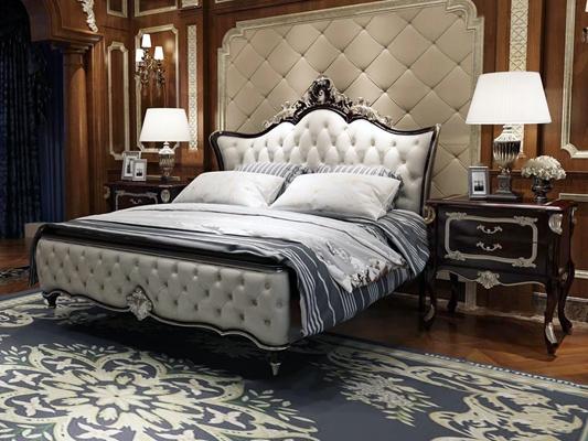欧式双人床床头柜组合3D模型【ID:76863709】
