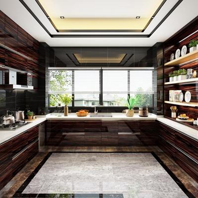 现代厨房橱柜吧台组合3D模型【ID:76870836】