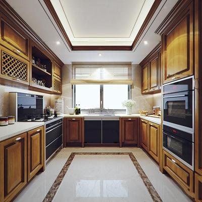 美式实木厨房橱柜3D模型【ID:76872438】