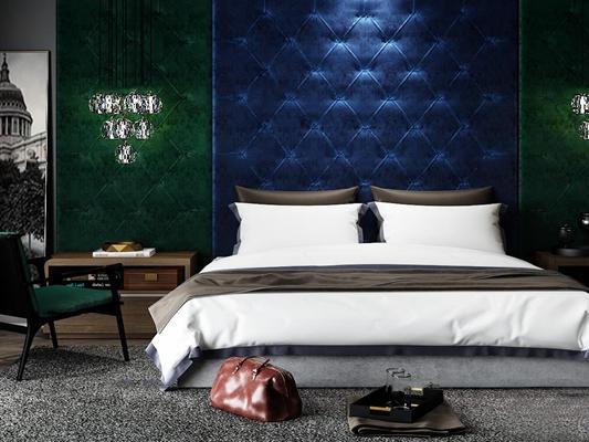 现代双人床床头柜柜壁灯组合3D模型【ID:76872801】