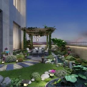 新中式别墅庭院3D模型【ID:928562994】