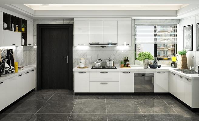 现代厨房橱柜组合3D模型【ID:76875432】