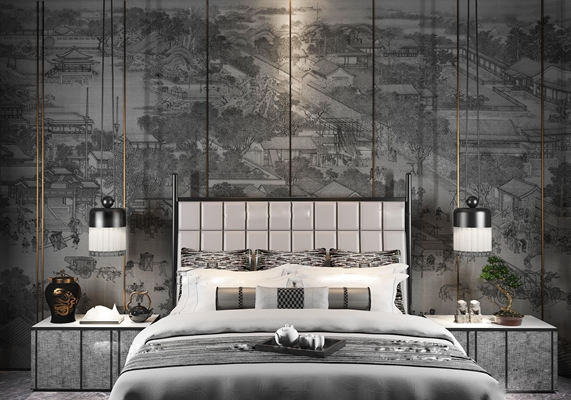 新中式双人床床头柜组合3D模型【ID:76884803】