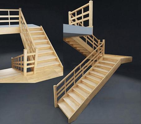 现代简约实木楼梯现代简约3D模型【ID:76894792】