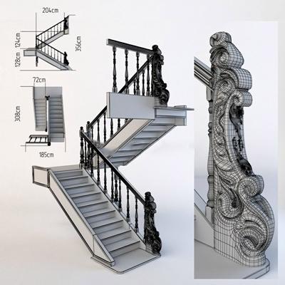 美式实木楼梯美式风格3D模型【ID:76900595】
