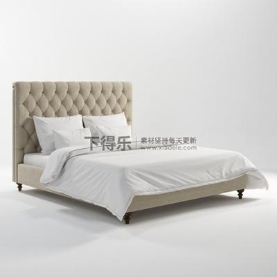 美式简约风格双人床双人床3D模型【ID:76903608】