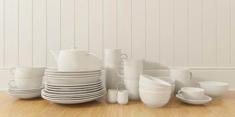 白色杯碟餐具组合瓷器3D模型【ID:76908537】