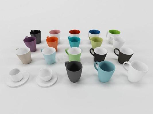 现代水杯组合餐具3D模型【ID:76909633】