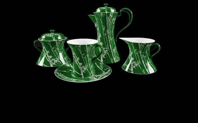 深绿底色竹子花纹整套茶具餐具3D模型【ID:76930833】