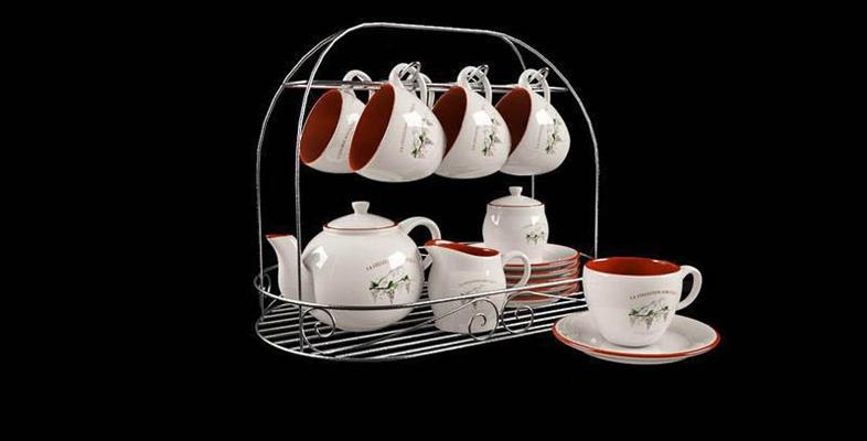 葡萄花纹红白色整套茶具模型3D模型【ID:76930834】