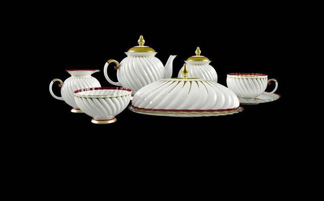 螺旋纹整套茶具模型3D模型【ID:76930930】