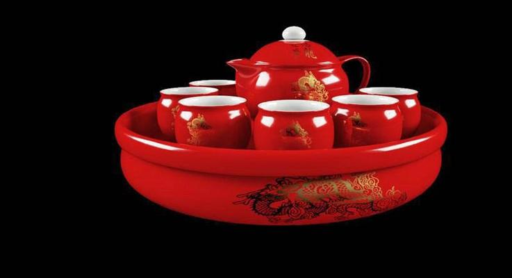 大红色金龙纹理整套茶具3D模型【ID:76932232】