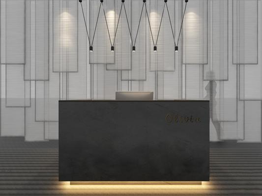 现代服务台吊灯组合3D模型【ID:76962073】