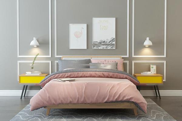 北欧双人床床头柜壁灯组合3D模型【ID:76964705】