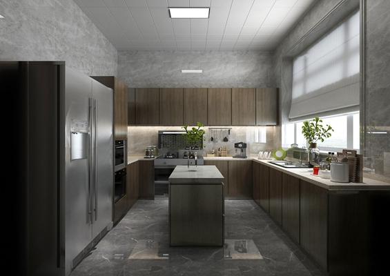 港式厨房橱柜餐具3D模型【ID:76964933】